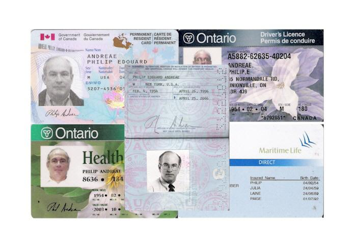 My Canadian Identity cards and passport